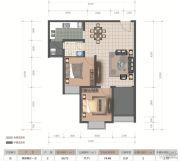 医大广场2室2厅1卫74平方米户型图
