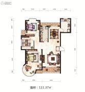 日月兴城3室2厅1卫111平方米户型图