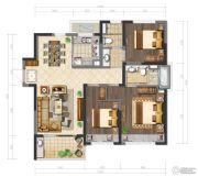 鲁能公馆3室2厅2卫125平方米户型图