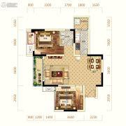 中亿阳明山水1室2厅1卫66平方米户型图