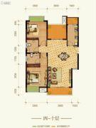 康田紫悦府3室2厅2卫80平方米户型图