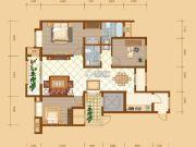昆河壹号3室2厅2卫126平方米户型图