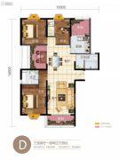 华信悦峰3室2厅2卫143平方米户型图