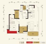 保利玫瑰花语3室2厅2卫89平方米户型图