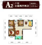 东方丽都3室2厅2卫120平方米户型图
