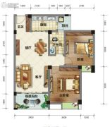荣华山庄二期温情港湾2室2厅1卫86平方米户型图