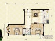 金山翰林苑2室1厅1卫83平方米户型图