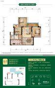 鲁能九龙花园3室2厅1卫63平方米户型图