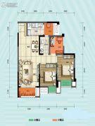 旭阳台北城敦美里3室1厅1卫66平方米户型图