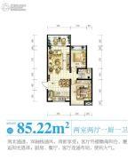 南海之滨2室2厅1卫85平方米户型图