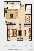 金域明珠2室2厅1卫82平方米户型图