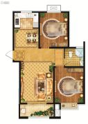 雍雅锦江2室2厅1卫92平方米户型图