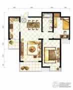 山水泉城2室2厅1卫86平方米户型图
