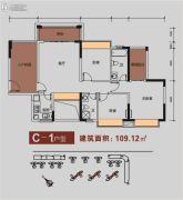 金碧丽江东海岸3室2厅2卫109平方米户型图