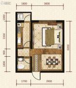 岸上澜湾1室0厅1卫44平方米户型图