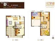 业达E空间3室1厅2卫60--80平方米户型图