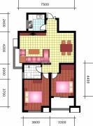 中天优诗美地2室2厅1卫98平方米户型图