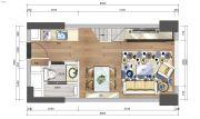 中洲公馆0室0厅0卫42平方米户型图