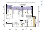 招商依云上城2室1厅1卫67平方米户型图