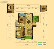 弘阳广场3室2厅2卫104平方米户型图