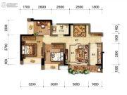 招商中央华城3室2厅1卫84平方米户型图