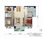 浏卉新城3室2厅2卫102平方米户型图