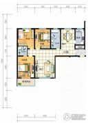 红安帝都3室2厅2卫135平方米户型图