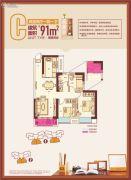 顶�L国际城2室2厅1卫91平方米户型图