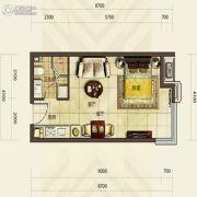 华发首府1室1厅1卫46平方米户型图