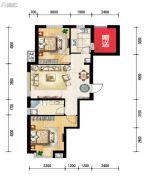 世纪枫景汇2室2厅1卫85平方米户型图