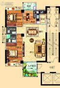 鸿泰华府3室2厅2卫126平方米户型图