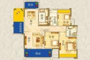 枫�Z美地园3室2厅2卫120平方米户型图