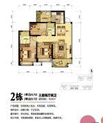 珠海奥园广场2室2厅2卫94平方米户型图