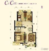 中国铁建・原香漫谷3室2厅1卫91平方米户型图