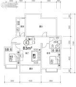 钓鱼一�院2室2厅1卫83平方米户型图