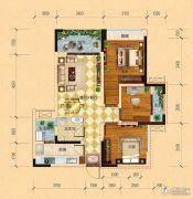 内江万达广场・中央华城3室2厅1卫78平方米户型图