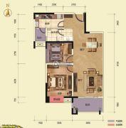 乾通・时代广场2室2厅2卫87平方米户型图
