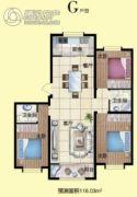 月湖名邸3室2厅2卫0平方米户型图
