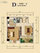 美林湾1室2厅1卫68平方米户型图