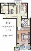天和湖滨1室1厅1卫64平方米户型图