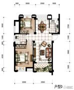 香河湾2室2厅1卫80平方米户型图