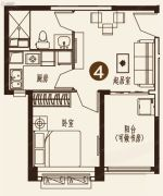 恒大城1室1厅1卫54平方米户型图