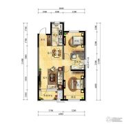 中海国际社区2室2厅1卫88平方米户型图