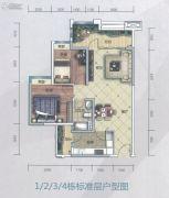 萝岗奥园广场2室2厅1卫82平方米户型图