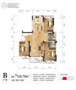 万众滕王阁3室2厅2卫125平方米户型图