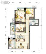 万科・珠江东岸3室2厅1卫0平方米户型图