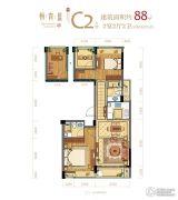 悦青蓝2室2厅2卫88平方米户型图