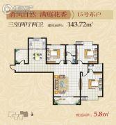 丽彩怡和润源3室2厅2卫143平方米户型图