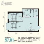 龙溪第2室1厅1卫57平方米户型图