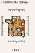 国兴北岸江山3室2厅2卫114平方米户型图